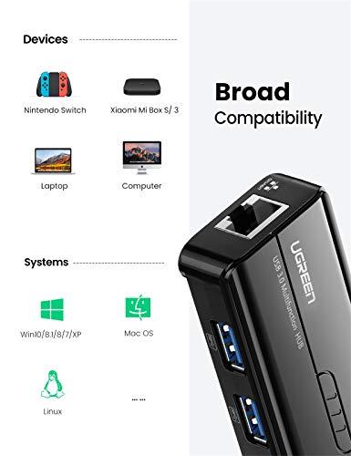 UGREEN Hub USB 3.0 Ethernet Adaptador 1000 Gigabit Ethernet, Tarjeta Red LAN RJ45 con 3 USB 3.0 Puerto 5Gbps para Xiaomi Mi Box S, Macbook, Lenovo Y530, Ideapad, Raspberry Pi 4 y Otros Portátiles