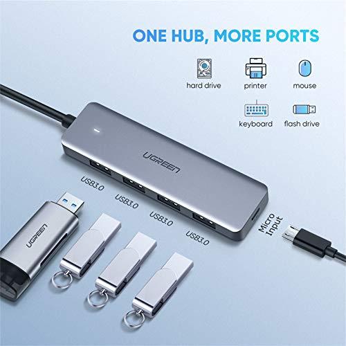 UGREEN HUB USB C a USB 3.0 4 Puertos, OTG Adaptador USB-C 5Gbps HUB USB Tipo C 3.1 Compatible con iPad Pro 2020 Macbook Pro 2020 DELL XPS 13 15, Xiaomi Mi 10 Redmi 9 Note 9, Samsung S20 S10 Note 20