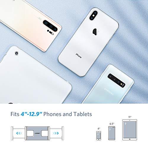UGREEN Soporte Metálico Tablet y Móvil, Brazo Articulado Multiángulo Pinza Ajustable para 4-12.9 Pulgadas Surface Pro 4, Bq Aquaris, XiaoMi A2, A1, Mi 9, Note 9, iPad Pro 2020, iPhone 12, Galaxy S20