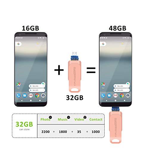 USB 3.0 Pen Drive 32 GB, Penobon 3 en 1 Memoria Flash USB Lápiz Drive OTG para iPhone, iPad, Android, PC, Rosa