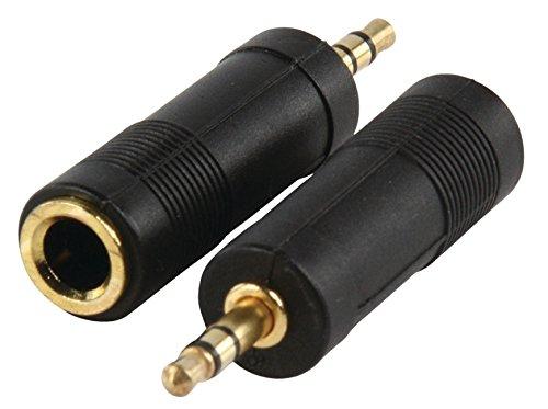Valueline AC-005GOLD - Adaptador de audio Estereo Jack 6.35mm Hembra a Jack 3.5mm Macho (Oro-Negro)