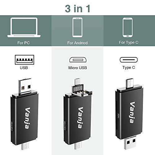 Vanja Lector Tarjeta de Memoria SD/Micro SD, Adaptador Micro USB OTG y Lector de Tarjetas USB 2.0 Computadoras de Escritorio y Portátiles/Teléfonos Inteligentes/Tabletas con Función OTG