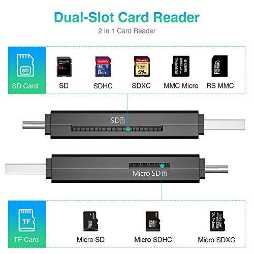 Vanja USB 3.0 Lector de Tarjetas, USB Tipo C SD/MicroSD Lector de Tarjetas Adaptador OTG para MacBook Pro, MacBook, iMac, Samsung S10/S9/S8, Huawei P30/P20/P10/Mate 20/10