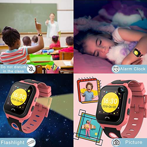 Vannico Smartwatch Niños,Reloj Niños Inteligente GPS 2G GPS/LBS Compatibles Micro Simyo Tarjeta Android iOS (Rosa)