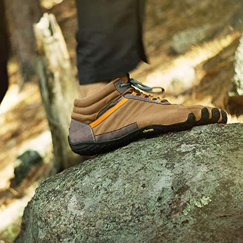 Vibram Fivefingers Trek Calcetines de Dedos Ascent Insulated Men +–Set–Trekking Dedos de Zapatos/Bar Soporte de Invierno con Gratis Calcetines de Cinco Dedos, Khaki/Orange, 44 EU