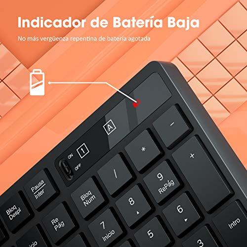 VicTsing Combo Teclado Ratón inalámbricos, con diseño de sonrisa y chocolate Teclado USB, Muis tot 1600 DPI, Disposición QWERTY Español, Bajo consumo de energía, Windows/VISTA/Mac, PC/Portátil, Negro
