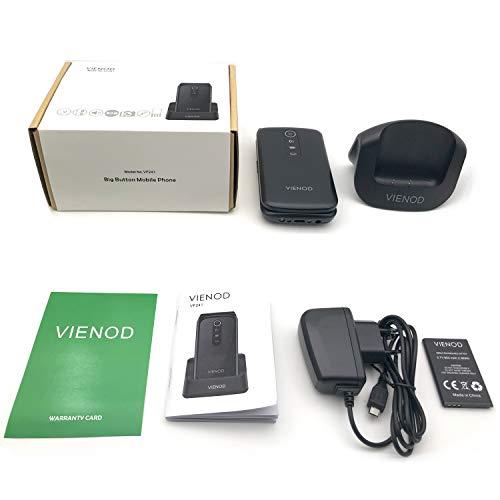 VIENOD VF241 Teléfono Móvil para Mayores con Tapa, Pantalla de 2,4 Pulgadas, Fácil de Usar Móviles para Ancianos con Teclas Grandes, Botón SOS
