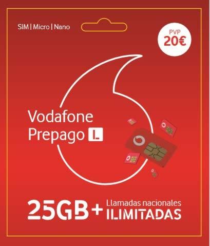 Vodafone Prepago L 40 GB (25+15GB Extra) + Llamadas ilimitadas Nacionales Roaming Europa y EEUU