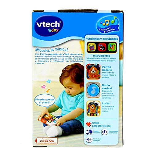 VTech- Perrito, MP3 Reproductor Musical de Juguete para bebé con más de 65 melodías, Canciones, Sonidos y Voces, enseña Vocabulario e Instrumentos (3480-508422) , color/modelo surtido