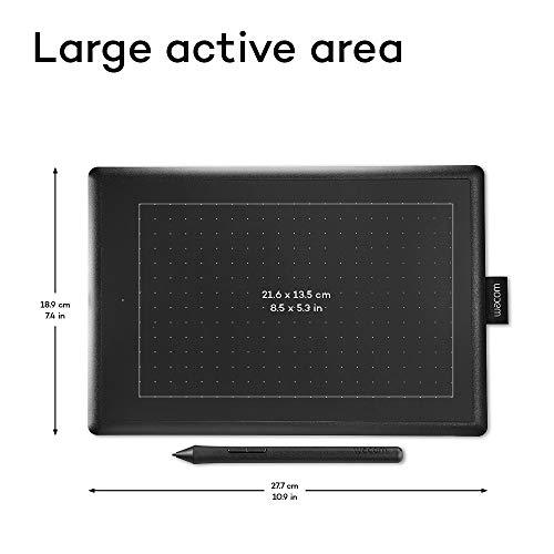 Wacom One by Wacom Medium - Tableta gráfica con lápiz digital sensible a la presión, compatible con Windows y Mac, óptima para oficina en casa y e-learning, color negro y rojo