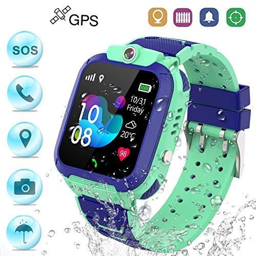 Winnes Reloj Inteligente Niño, Reloj Smartwatch Niños Niña GPS Soporte GPS + LBS de Doble Posicionamiento Geo-Cerca/intercomunicador de Voz Reloj Phone para niño (Verde)