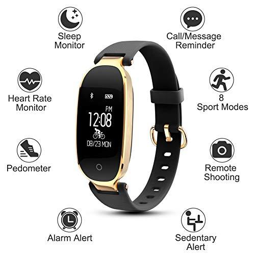 WOWGO Pulsera Monitor de Actividad Pulsómetro y Podómetro para Mujeres Impermeable IP67, con Bluetooth Contador de Pasos y Monitor de Sueño para Smartphones con Android e iOS: iPhone, Samsung