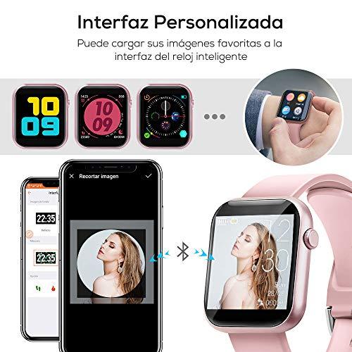 WWDOLL Smartwatch, 1.3 Pulgadas Reloj Inteligente Mujer, Reloj Deportivo con Pulsómetro, Cronómetro, Presión Arterial, Calculadora, Monitor de Sueño, IP67 Smart Watch para Android iOS