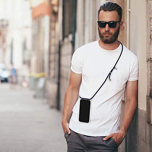 XCYYOO Carcasa de movil con Cuerda para Colgar iPhone 7/8 -Funda para iPhone/Samsung/Huawei con Correa Colgante para Llevar en el Cuello -Hecho a Mano en Berlin[Transparente TPU Case/Oro Rosa]