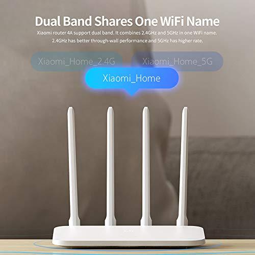 Xiaomi Router 4A WiFi inalámbrico 2.4GHz 5GHz Banda Dual 1167Mbps WiFi Repeater 4 Antenas de Alta Ganancia 64MB Memoria App Control Extensor de Red para Uso en el hogar y la Oficina (Blanco)