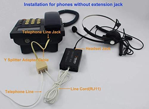 Xintronics Auriculares Teléfono Fijo Mono Universal Compatible con Mayoría Teléfonos Fijos, Cascos RJ9 con Botón de Respuesta, Micrófono con Cancelación de Ruido, Control de Volumen(XT400)