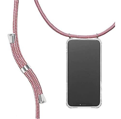 yanzi Funda con Cuerda Samsung Galaxy Note 9 Funda Carcasa Transparente Silicona Case TPU Colgante Ajustable Collar Correa de Cuello Cordón Oro Rosa Cover Caso Fundas Samsung Note 9 Carcasa