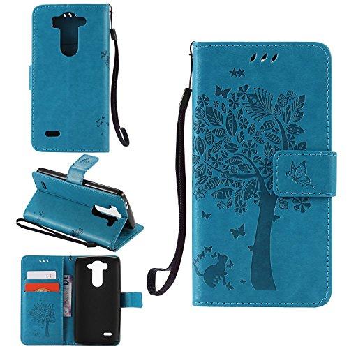Ycloud Funda Libro para LG G3s (5.0pulgada), PU Leather Cuero con Flip Cover Cierre Magnético Función de Soporte Billetera Case con Tapa para Tarjetas Gato Árbol Mariposa Azul