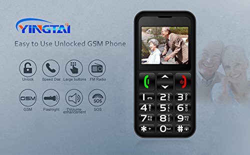 YINGTAI T11 2G Teléfono Móvil para Personas Mayores con Teclas Extra Grandes, Fácil de Usar Celular para Ancianos con SOS Botones