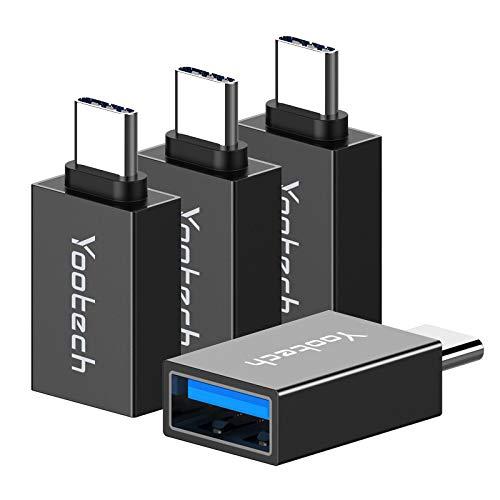 yootech Adaptador USB C a USB 3.0 [4 Pack], Uso en Paralelo con OTG,Conector de tranferencia de Datos para Samsung, Huawei, MacBook Pro 2019/2018, ChromeBook Pixel y Otros Dispositivos con USB C