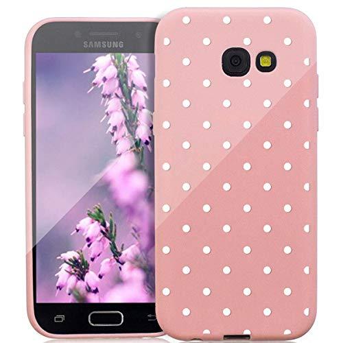 ZhuoFan Funda Samsung Galaxy A5 2017, Cárcasa Silicona Rosa con Dibujos Diseño Suave Gel TPU Antigolpes de Protector Piel Case Cover Bumper Fundas para Movil Samsung GalaxyA5, Lunares Blanca