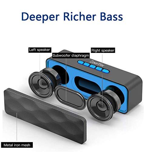 ZoeeTree S1 Altavoces Bluetooth, Bluetooth 5.0, Altavoz Portatil Bluetooth, Estereo, al Aire Libre, con HD Audio y Manos Libres, Radio FM Antena Construido, USB, Llamadas Manos Libres y TF.