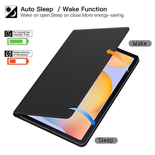 ZtotopCase Funda para Samsung Galaxy Tab S6 Lite 2020, Parte Posterior Magnética Inteligente Ultradelgada con Soporte Incorporado de Pencil, para Samsung Galaxy Tab S6 Lite 10.4 Pulgadas, Negro