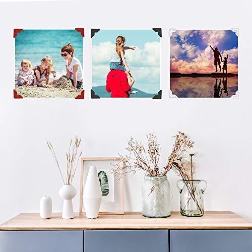 1438 pegatinas para esquinas de fotos, papel adhesivo para montaje de fotos, esquinas para marcos de fotos, para manualidades, álbum de fotos, álbum de fotos y más (26 hojas multicolores)