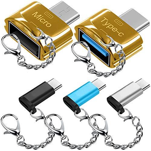 5 pcs Adaptadores Tipo C con Llaveros, AFUNTA USB-C (Macho) a Micro USB y USB 2.0 (Femenino) con Micro USB 2.0 OTG, Tipo C Convertidor Conector Cargador Rápido para Samsung S8