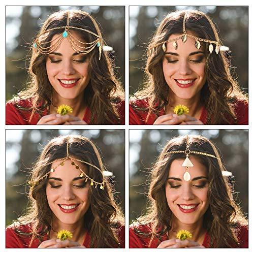 8 Piezas Oro Joya con Cadena de Cabeza Diadema Boho Cadena de Cabeza Monedas Perla Borla Cadena Cabello Banda Tocado de Boda de Fiesta de Graduación para Mujeres y Niñas (Estilo A)