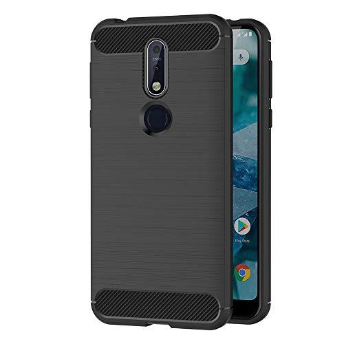 AICEK Funda Nokia 7.1, Negro Silicona Fundas para Nokia 7.1 Carcasa Nokia 7.1 Fibra de Carbono Funda Case (5,84 Pulgadas)