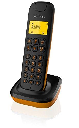 Alcatel D135 - Teléfono inalámbrico, color negro y naranja