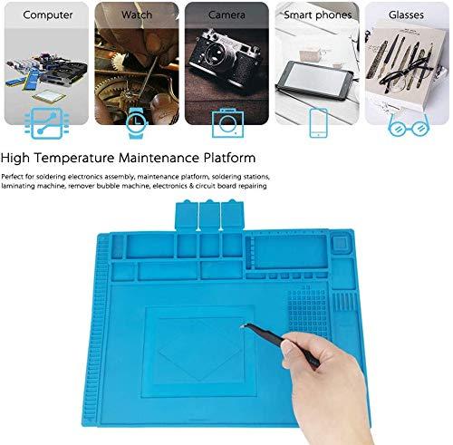 Almohadilla de trabajo Soldadura Estera Magnética del Silicón, 45x 30cm Aislamiento resistente al alta temperatura -50-500 ° estera para reparar teléfono, computadoras, Cámara