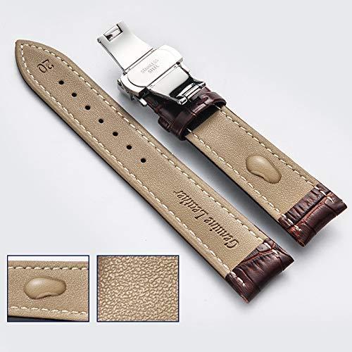 ALXDR Reemplazo De Cuero Correa De La Correa del Reloj De Cocodrilo Grano Hebilla De Mariposa con Hebilla De Despliegue para Hombres Mujeres 18mm-24mm,Blacksilver,20mm