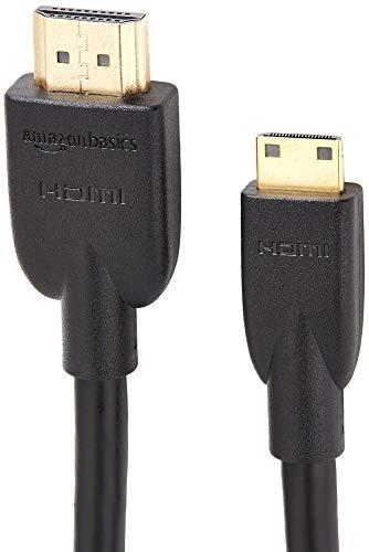 AmazonBasics - Cable adaptador Mini HDMI (Tipo C) a HDMI (Tipo A) (estándar 2.0, vídeo 4K a 60 Hz, 2160p y 48 bit/px, compatible con Ethernet, 3D y ARC, 3,04m), negro