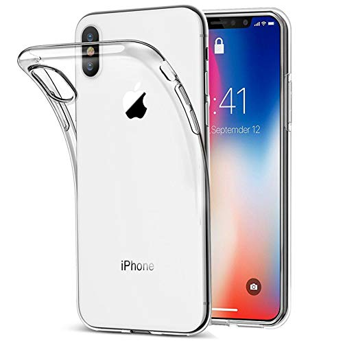 Amonke Funda iPhone X, Funda iPhone XS - Silicona Transparente TPU Carcasa, (iPhone XS-Transparente)