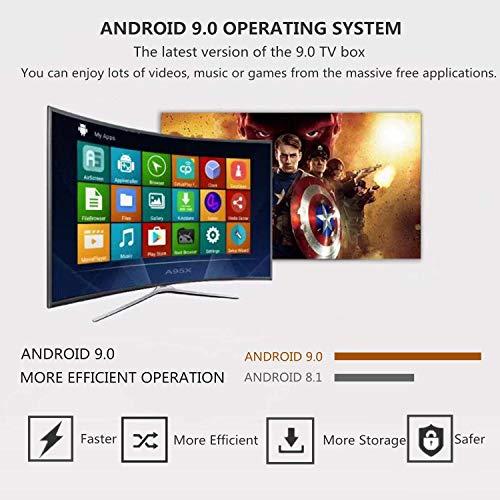 Android 9.0 TV Box, Smart Box Vídeo Reproductor Multimedia 4GB RAM 64GB ROM H6 Quad-Core Cortex-A53 Mali-T720MP2 Soporte 6K H.265 100M LAN Enternet 2.4GHz WiFi, Caja de Televisor con USB 3.0
