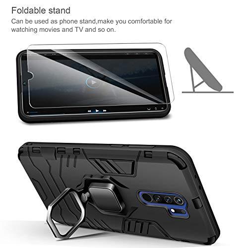 AROYI Carcasa Xiaomi Redmi 9 Funda Silicona & Protector Pantalla Cristal Templado, Suave Armadura híbrida Robusta Bumper Case Anti-arañazos Caja para Funda Xiaomi Redmi 9 Smartphone (Black)