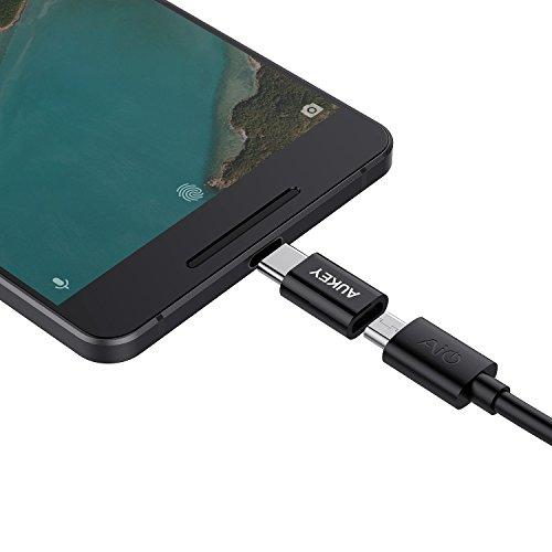 AUKEY Adaptador USB C a Micro USB (3 Pack) con OTG USB Type C Conector para Samsung Galaxy S8 / S8+, OnePlus 2/3, HUAWEI P9, MacBook Pro 2017/2016 y Otros Dispositivos con USB C