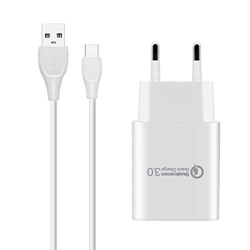 BERLS Tipo C Cargador rápido Cargador Incluye USB Tipo C Cable Carga rápida para Samsung Galaxy S8 S8 + S9 Plus S9 + Note 8 Note 9+ A3 A5 A7(2017) USB de C
