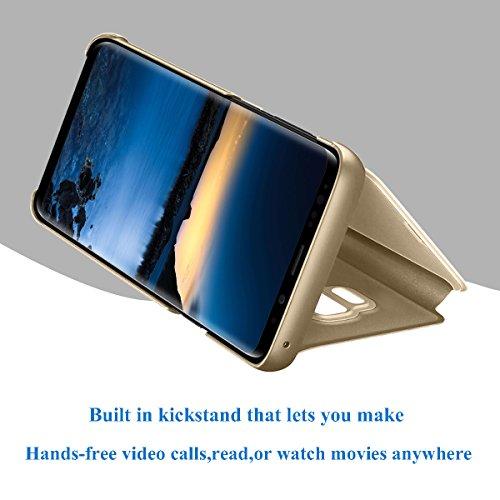 Beryerbi Funda Samsung Galaxy A5 2017 Carcasa Espejo Mirror Flip PC Hard Case Ultra Delgada Anti-Scratch Protector Cover Soporte Plegable Caso Duro para Galaxy A5 2017 (Oro, Galaxy A5 2017)