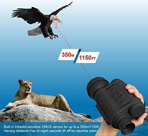 bestguarder Visor monocular digital de visión nocturna 6x50mm Cámara infrarroja de alta definición de 5mp Foto 720p Video hasta 350m/1150ft Distancia de detección con TFT LCD de 1.5 pulgadas