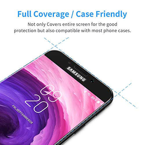 Bewahly Cristal Templado para Samsung Galaxy A5 2017 [2 Piezas], Ultra Fino Completa Cobertura Protector Pantalla, 9H Dureza Alta Definicion Vidrio Templado Sin Burbujas para Samsung A5 2017 (Negro)