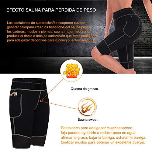 Bingrong Pantalones para Adelgazar Mujer Pantalón de Sudoración Adelgazar Pantalones Cortos de Neopreno térmicos para Ejercicio para Pérdida de Peso Deportivo (Negro, XX-Large)