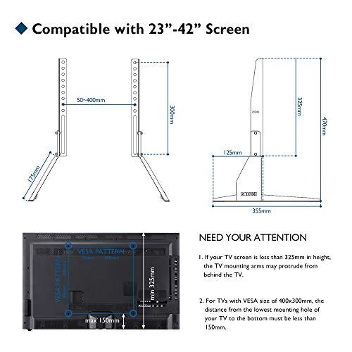 BONTEC Soporte TV Ruedas Mesa TV 23-42 Pulgadas Plasma/LCD/LED Soportes TV de Pie para Pantalla Plana Móvil Carro de Exhibición Trole, Máx. VESA 400x400 mm