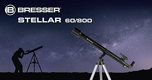 Bresser Stellar 60/800 AZ - Telescopio Refractor con Adaptador de Cámara de Smartphone