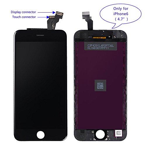 Brinonac LCD Pantalla táctil digitalizador Vidrio Asamblea de reemplazo Kit de Herramientas de reparación + Instrucción + Vidrio Templado Protector de Pantalla para iPhone 6 4.7 Pulgadas Negro
