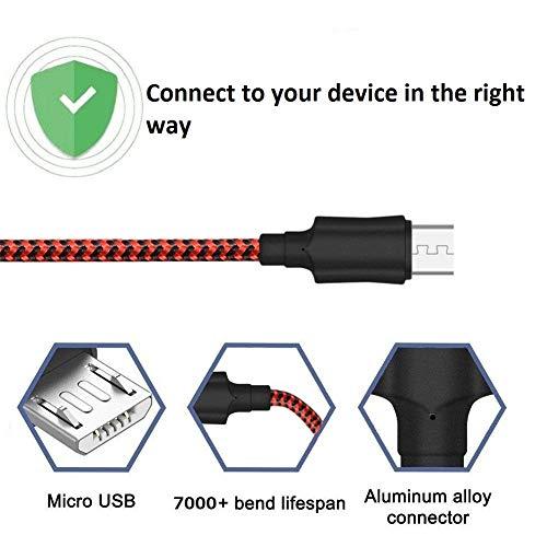 Cable Micro USB [2-Pack, 2M] Yosou Cable Android de Nylon Cargador Micro USB Carga USB Compatible con Dispositivos Android, Samsung Galaxy, Huawei, Sony, Nokia, HTC, Nexus, LG, PS4 y más - Rojo
