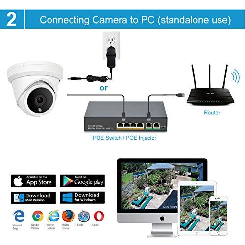 Cámara Domo IP PoE de 5 megapíxeles Anpviz, cámara de Seguridad IP66 Impermeable para Interiores y Exteriores con ángulo de visión de 2.8 mm, visión Nocturna por Infrarrojos de 98 pies