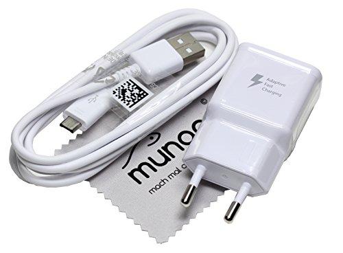 Cargador para Original Flash rápido Samsung 2A + USB 1,5 m Cable de Carga de Datos para Samsung Galaxy S7, S7 Active con mungoo Pantalla paño de Limpieza
